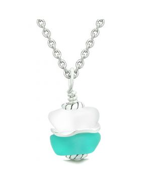 Sea Glass Icy Frosted Waves Double Lucky Aqua Blue White Positive Energy Amulet Pendant 18 Inch Necklace