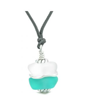 Sea Glass Icy Frosted Waves Double Lucky Aqua Blue White Positive Energy Amulet Pendant Adjustable Necklace