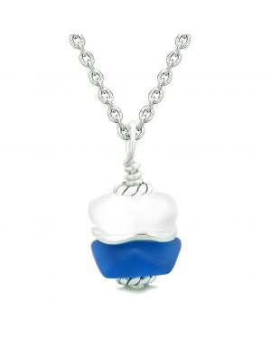Sea Glass Icy Frosted Waves Double Lucky Ocean Blue White Positive Energy Amulet Pendant 22 Inch Necklace