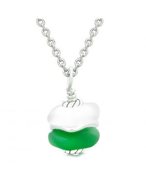 Sea Glass Icy Frosted Waves Double Lucky Green White Positive Energy Amulet Pendant 22 Inch Necklace