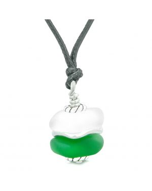 Sea Glass Icy Frosted Waves Double Lucky Green White Positive Energy Amulet Pendant Adjustable Necklace