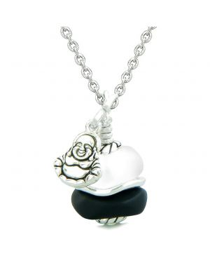 Sea Glass Icy Frosted Waves Lucky Buddha Black White Positive Energy Amulet 22 Inch Necklace