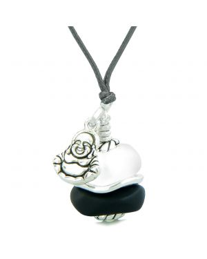 Sea Glass Icy Frosted Waves Lucky Buddha Black White Positive Energy Amulet Adjustable Necklace
