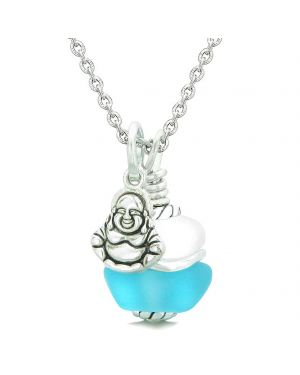 Sea Glass Icy Frosted Waves Lucky Buddha Sky Blue White Positive Energy Amulet 22 Inch Necklace