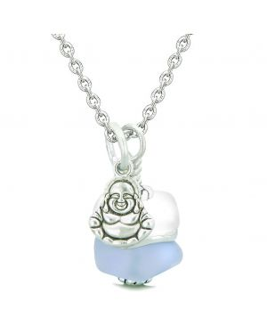 Sea Glass Icy Frosted Waves Lucky Buddha Purple White Positive Energy Amulet 18 Inch Necklace