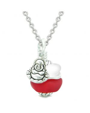 Sea Glass Icy Frosted Waves Lucky Buddha Royal Red White Positive Energy Amulet 18 Inch Necklace
