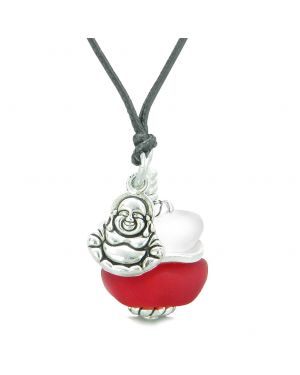 Sea Glass Icy Frosted Waves Lucky Buddha Royal Red White Positive Energy Amulet Adjustable Necklace