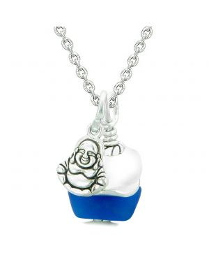 Sea Glass Icy Frosted Waves Lucky Buddha Ocean Blue White Positive Energy Amulet 22 Inch Necklace