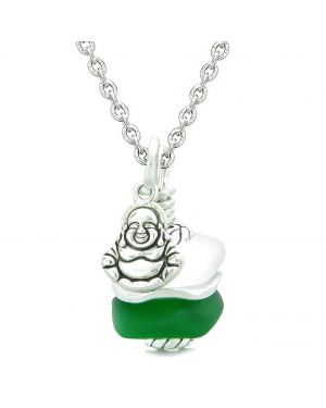 Sea Glass Icy Frosted Waves Lucky Buddha Forest Green White Positive Energy Amulet 22 Inch Necklace