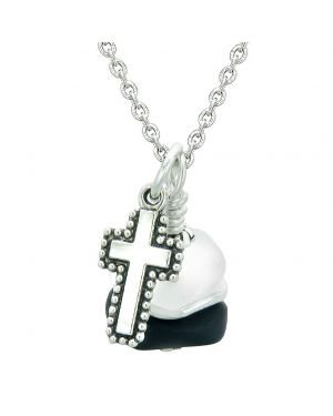 Sea Glass Icy Frosted Waves Holy Cross Black White Positive Energy Amulet 22 Inch Necklace