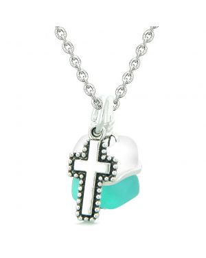 Sea Glass Icy Frosted Waves Holy Cross Aqua Blue White Positive Energy Amulet 22 Inch Necklace