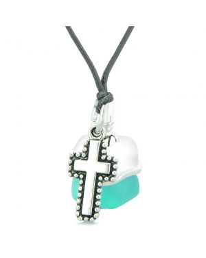 Sea Glass Icy Frosted Waves Holy Cross Aqua Blue White Positive Energy Amulet Adjustable Necklace