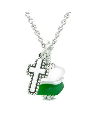 Sea Glass Icy Frosted Waves Holy Cross Forest Green White Positive Energy Amulet 22 Inch Necklace