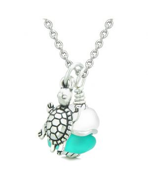 Sea Glass Icy Frosted Waves Lucky Turtle Aqua Blue White Positive Energy Amulet 22 Inch Necklace