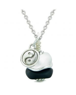 Sea Glass Icy Frosted Waves Lucky Yin Yang Black White Positive Energy Amulet 18 Inch Necklace