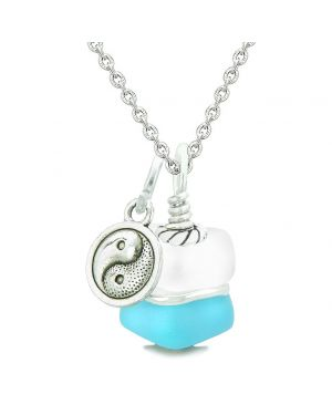 Sea Glass Icy Frosted Waves Lucky Yin Yang Sky Blue White Positive Energy Amulet 18 Inch Necklace