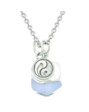 Sea Glass Icy Frosted Waves Lucky Yin Yang Purple White Positive Energy Amulet 18 Inch Necklace