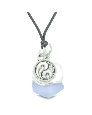 Sea Glass Icy Frosted Waves Lucky Yin Yang Purple White Positive Energy Amulet Adjustable Necklace