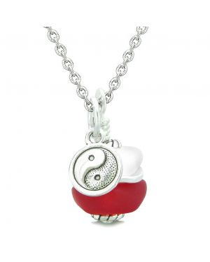 Sea Glass Icy Frosted Waves Lucky Yin Yang Royal Red White Positive Energy Amulet 22 Inch Necklace