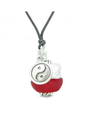 Sea Glass Icy Frosted Waves Lucky Yin Yang Royal Red White Positive Energy Amulet Adjustable Necklace
