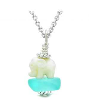 Sea Glass Aqua Blue Frosted Cloud White Elephant Lucky Charm Magic Amulet Pendant 22 Inch Necklace