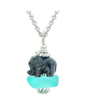 Sea Glass Aqua Blue Frosted Cloud Black Elephant Lucky Charm Magic Amulet Pendant 22 Inch Necklace