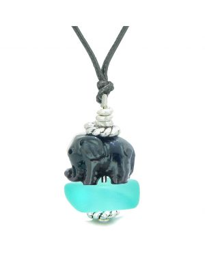 Sea Glass Aqua Blue Frosted Cloud Black Elephant Lucky Charm Magic Amulet Pendant Adjustable Necklace