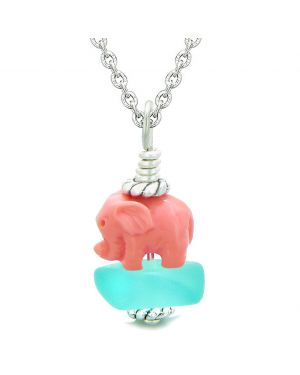 Sea Glass Aqua Blue Frosted Cloud Pink Elephant Lucky Charm Magic Amulet Pendant 22 Inch Necklace