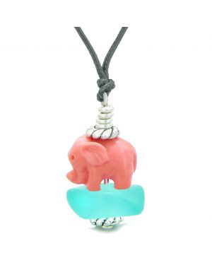 Sea Glass Aqua Blue Frosted Cloud Pink Elephant Lucky Charm Magic Amulet Pendant Adjustable Necklace