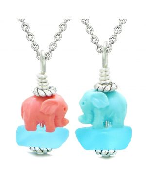 Icy Sea Glass Sky Blue Cloud Pink and Celeste Lucky Elephants Love Couples BFF Set Amulet Necklaces