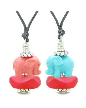Icy Sea Glass Royal Red Cloud Celeste and Pink Lucky Elephants Love Couples BFF Set Amulet Necklaces