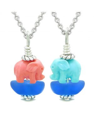 Icy Sea Glass Ocean Blue Cloud Pink and Celeste Lucky Elephants Love Couples BFF Set Amulet Necklaces