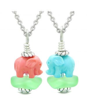 Icy Sea Glass Mint Green Cloud Pink and Celeste Lucky Elephants Love Couples BFF Set Amulet Necklaces