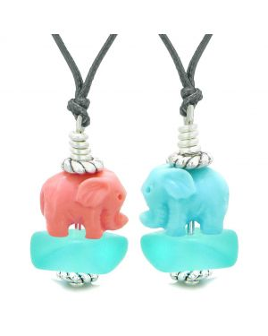 Icy Sea Glass Aqua Blue Cloud Celeste and Pink Lucky Elephants Love Couples BFF Set Amulet Necklaces