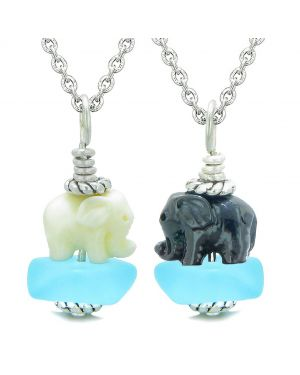 Icy Sea Glass Sky Blue Cloud Black and White Lucky Elephants Love Couples BFF Set Amulet Necklaces