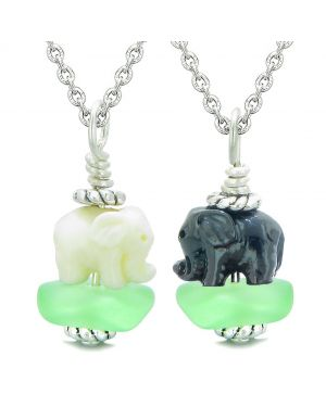 Icy Sea Glass Mint Green Cloud Black and White Lucky Elephants Love Couples BFF Set Amulet Necklaces