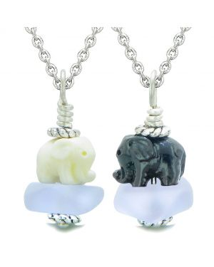 Icy Sea Glass Pastel Purple Cloud Black and White Lucky Elephants Love Couples BFF Set Amulet Necklaces