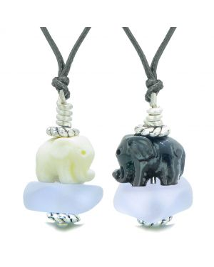Icy Sea Glass Pastel Purple Cloud White and Black Lucky Elephants Love Couples BFF Set Amulet Necklaces