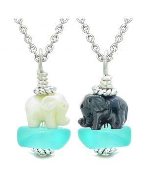 Icy Sea Glass Aqua Blue Cloud Black and White Lucky Elephants Love Couples BFF Set Amulet Necklaces
