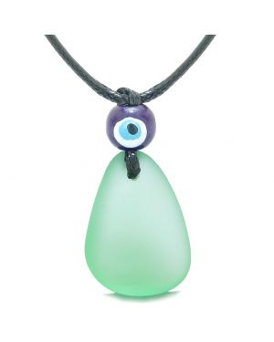 Free Form Unique Frosted Sea Glass Mint Green Water Drop Evil Eye Protection Amulet Adjustable Necklace