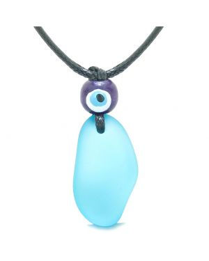 Free Form Unique Frosted Sea Glass Sky Blue Water Drop Evil Eye Protection Amulet Adjustable Necklace
