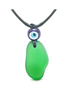 Free Form Unique Frosted Sea Glass Forest Green Water Drop Evil Eye Protection Amulet Adjustable Necklace