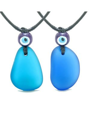 Free Form Unique Sea Glass Ocean and Cobalt Blue Love Couples BFF Set Protection Amulet Drop Necklaces