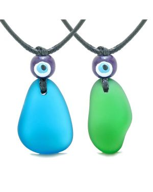 Free Form Unique Sea Glass Cobalt Blue Forest Green Love Couples BFF Set Protection Amulet Drop Necklaces
