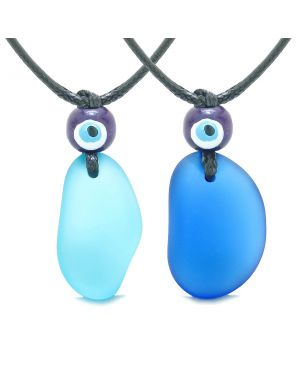 Free Form Unique Sea Glass Ocean and Sky Blue Love Couples BFF Set Protection Amulet Drop Necklaces