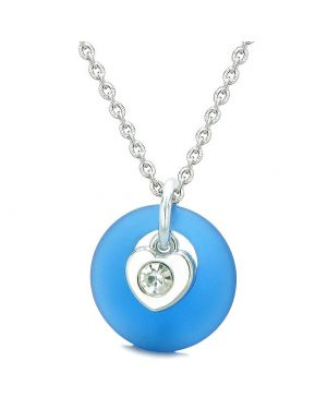 Sea Glass Lucky Donut Crystal Heart Charm Adorable Ocean Blue Positive Energy Amulet 18 Inch Necklace