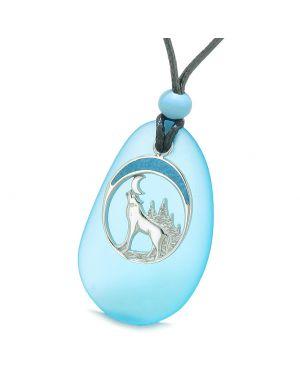 Large Sky Blue Frosted Sea Glass Howling Wolf Protection Amulet Puffy Water Drop Adjustable Necklace