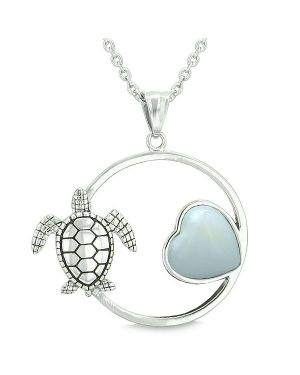 Amulet Cute Sea Turtle Magic Circle Heart Medallion Positive Powers Opalite Pendant Necklace
