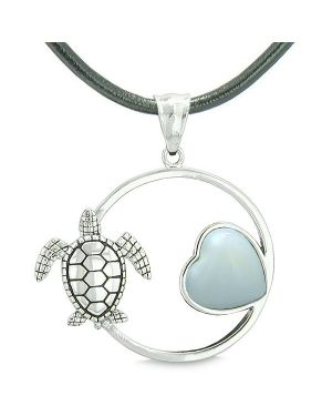 Amulet Cute Sea Turtle Magic Circle Heart Medallion Positive Powers Opalite Leather Necklace