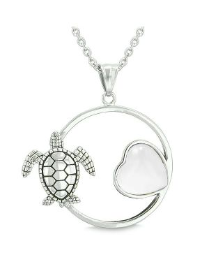 Amulet Cute Sea Turtle Magic Circle Heart Medallion Positive Powers White Cats Eye Pendant Necklace